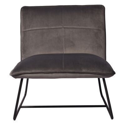 Frailey Velvet Fabric Lounge Chair, Grey