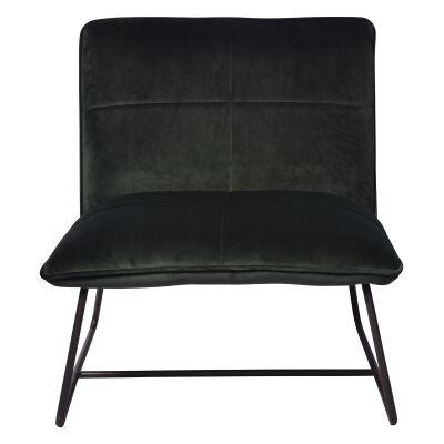 Frailey Velvet Fabric Lounge Chair, Dark Green