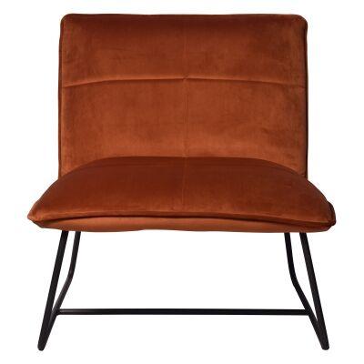 Frailey Velvet Fabric Lounge Chair, Orange