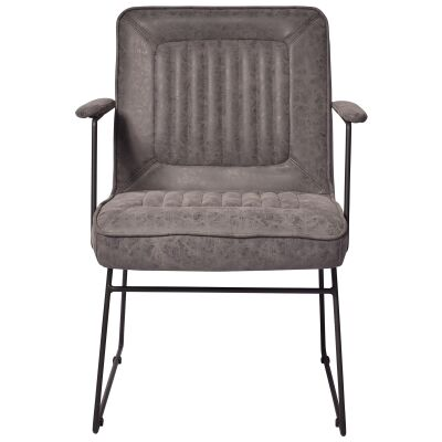 Trewint PU Leather & Metal Armchair, Seal Grey