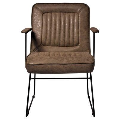 Trewint PU Leather & Metal Armchair, Khaki