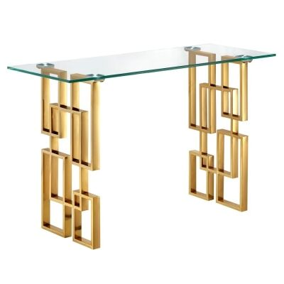 Arzana Glass & Stainless Steel Console Table, 122cm