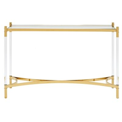 Ciaran Glass & Stainless Steel Console Table, 120cm, Gold