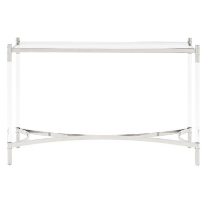 Ciaran Glass & Stainless Steel Console Table, 120cm, Silver