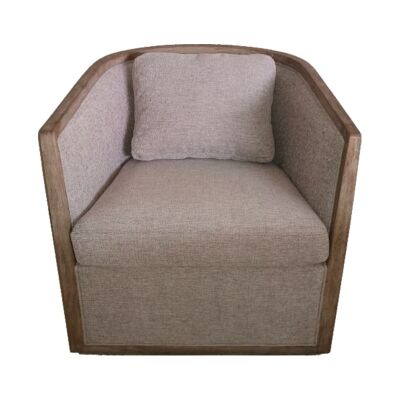 Morick Pine & Fabric Club Armchair, Grey