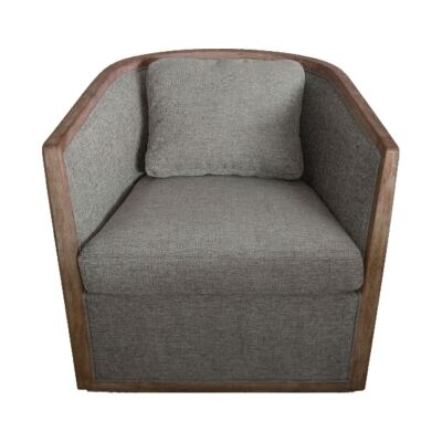 Morick Pine & Fabric Club Armchair, Steel Grey