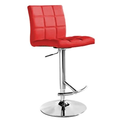Paso PU Leather Gas Lift Counter / Bar Stool, Red