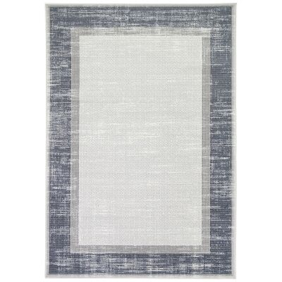 Courtyard New York Modern Rug, 150x80cm, Grey / Blue