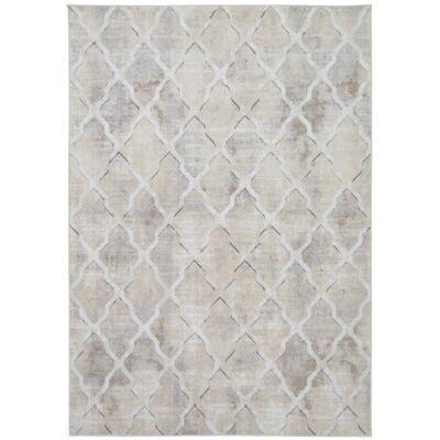 Courtyard Trellis Textured Modern Rug, 330x240cm, Beige
