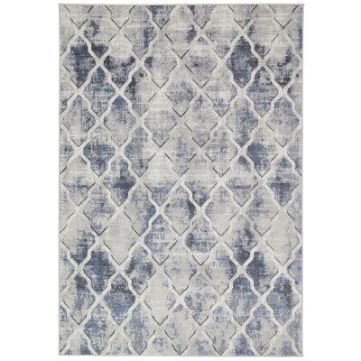 Courtyard Trellis Textured Modern Rug, 330x240cm, Blue