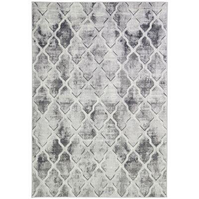Courtyard Trellis Textured Modern Rug, 290x200cm, Grey