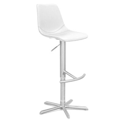 Bunnell PU Leather Gas Lift Bar Stool, White