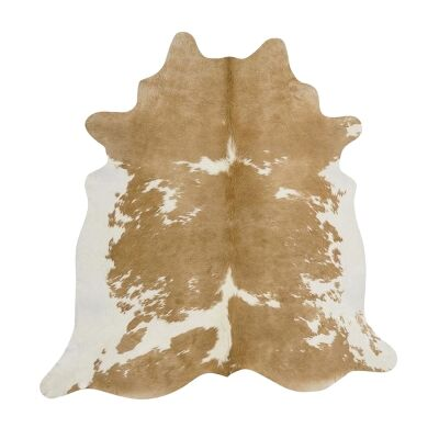 Exquisite Natural Cowhide Rug, 170x180cm, Beige/White