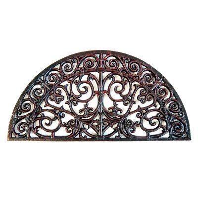 Reilly Cast Iron Outdoor Semi Round Wall Decor / Doormat