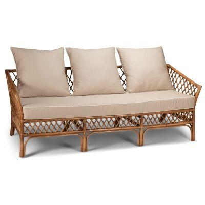 Charlotte Rattan Sofa, 3 Seater, Antique Brown / Tan