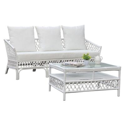 Charlotte Rattan Sofa (Coffee Table Not Incl), 3 Seater, White