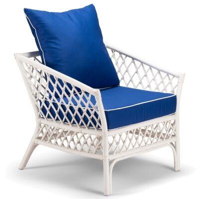 Charlotte Rattan Armchair, White / Pacific Blue