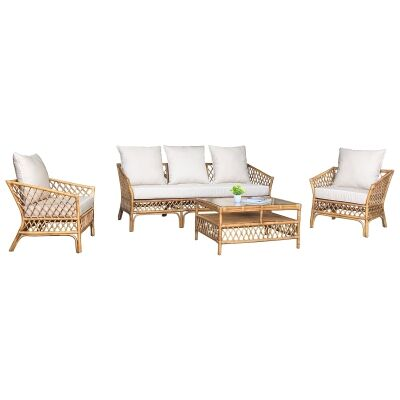 Charlotte 4 Piece Rattan Lounge Set, Antique Brown / Tan