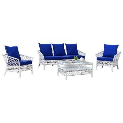 Charlotte 4 Piece Rattan Lounge Set, White / Pacific Blue