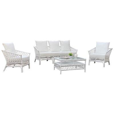 Charlotte 4 Piece Rattan Lounge Set, White
