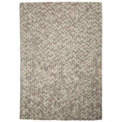 Crisscross Handwoven Wool Rug, 160x110cm, Latte