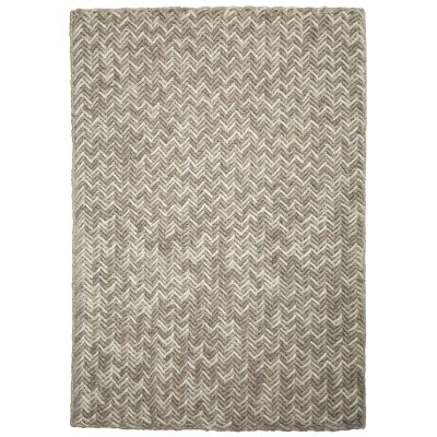 Crisscross Handwoven Wool Rug, 225x155cm, Latte