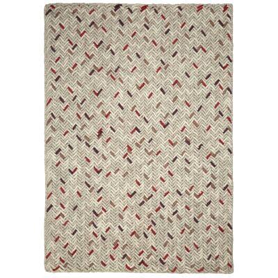 Crisscross Handwoven Wool Rug, 225x155cm, Cream / Red