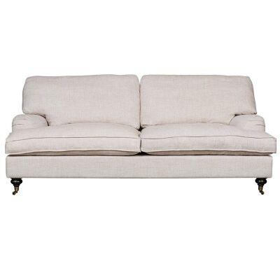 Jasmine Linen Fabric Roll Arm Sofa, 2.5 Seater, Oatmeal