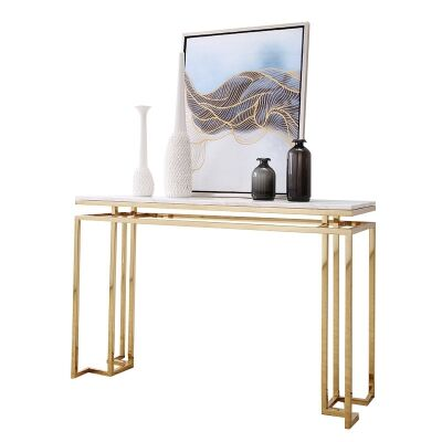 Alice Marble Topped Metal Console Table, 140cm