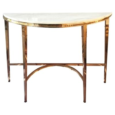 Mary Marble Topped Metal Semi Round Console Table, 130cm