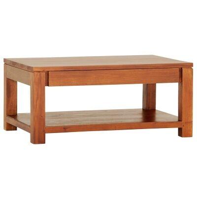 Amsterdam Mahogany Timber 2 Drawer Coffee Table, 90cm, Light Pecan
