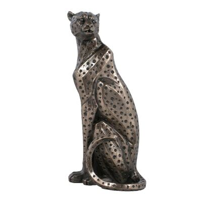 Cast Bronze Wild Life Figurine, Sitting Cheetah