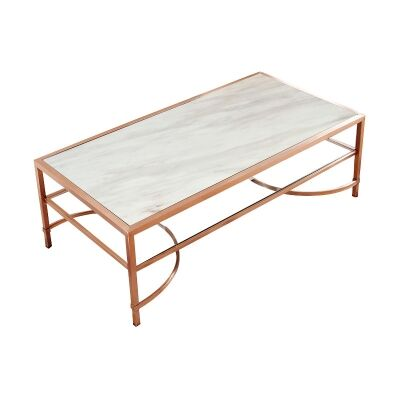 Alicia Marble Topped Metal Coffee Table, 137cm