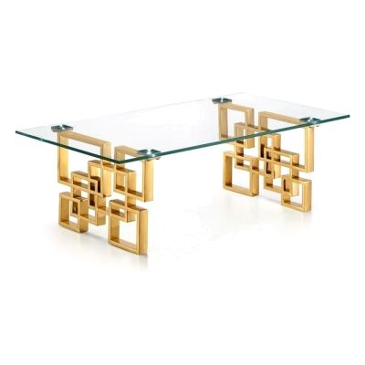 Arzana Glass & Stainless Steel Coffee Table, 120cm