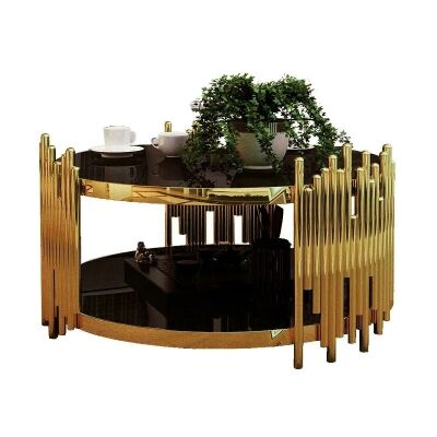 Onani Glass & Iron Round Coffee Table, 95cm