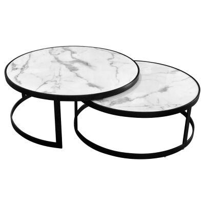 Mirabello 2 Piece Faux Marble Topped Metal Round Nesting Coffee Table Set, White / Black