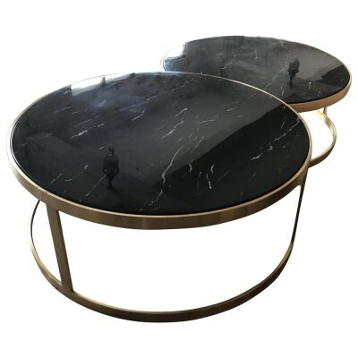 Mirabello 2 Piece Faux Marble Topped Metal Round Nesting Coffee Table Set, Black / Gold