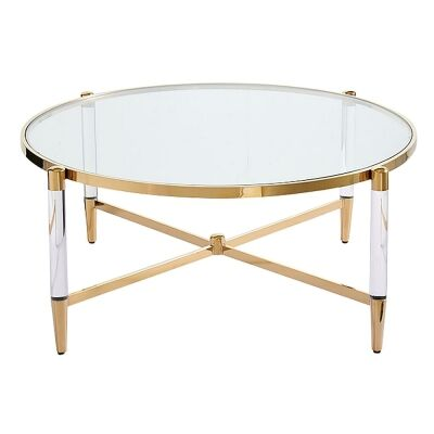 Ciaran Glass & Stainless Steel Round Coffee Table, 100cm, Gold