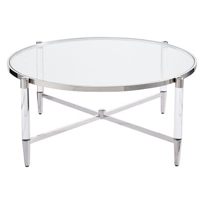 Ciaran Glass & Stainless Steel Round Coffee Table, 94cm, Silver