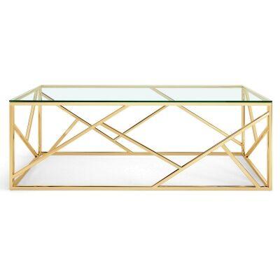 Loiri Glass & Stainless Steel Coffee Table, 120cm