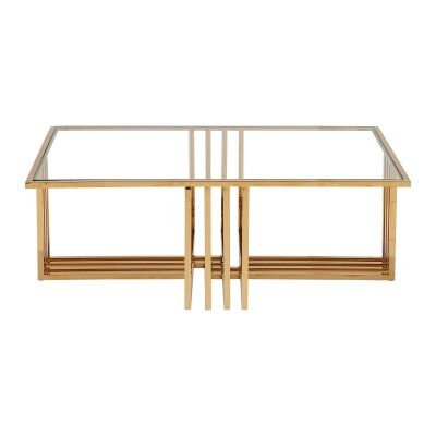Cervo Glass & Stainless Steel Coffee Table, 120cm