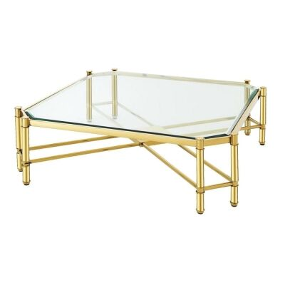 Faro Glass & Stainless Steel Square Coffee Table, 90cm