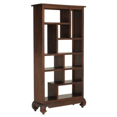 Liam Solid Mahogany Timber Display Shelf / Room Divider, Mahogany