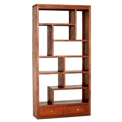 Pagama Solid Mahogany Timber Display Shelf / Room Divider with Drawers, Light Pecan