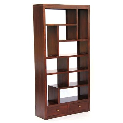 Pagama Solid Mahogany Timber Display Shelf / Room Divider with Drawers, Mahogany