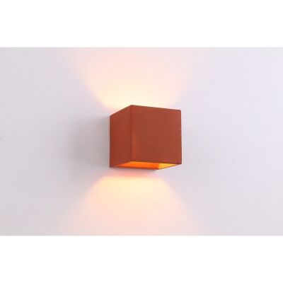 Cubo IP54 Exterior Up/Down LED Wall Light, Brick Red