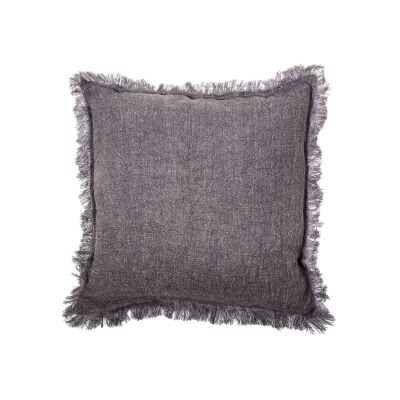 Northam Fringed Linen Fabric Fringed Scatter Cushion, Charcoal