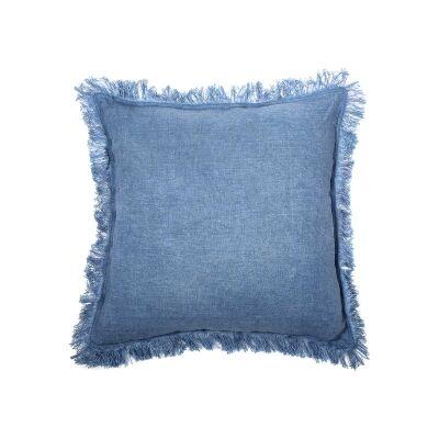 Northam Fringed Linen Fabric Fringed Scatter Cushion, Denim