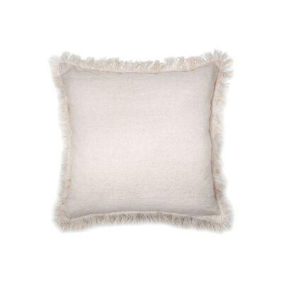 Northam Fringed Linen Fabric Fringed Scatter Cushion, Shell