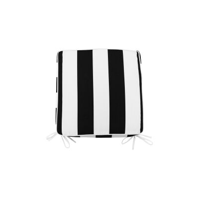 Minell Stripe Indoor / Outdoor Seat Pad, Black